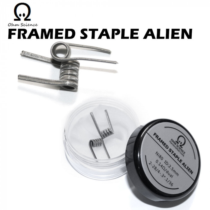 Ohm Science_Framed Staple Alien (Hand Crafted Prebuilt Coil)
