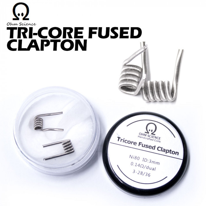 Ohm Science_Tri-Core Fused Clapton(Hand Crafted Prebuilt Coil)